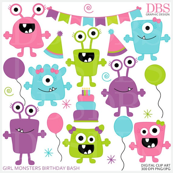 monster aliens clipart clip art birthday party Girl Monsters