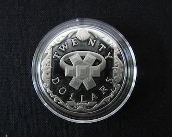 Vintage British Sterling Silver Virgin Island Sterling Silver Commemorative Twenty Dollar Proof Coin - Emerald Ring
