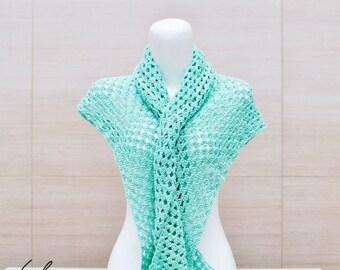 triangle shawl, crochet shawl, knitted shawl, handmade shawl, turquoise green shawl