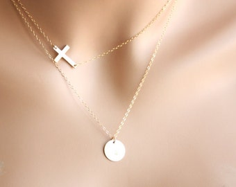 Personalized double layer 14K Gold Filled Necklace- Customized Initial Disk and sideways Cross, You can make your choice number of Disks