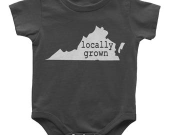 Virginia Locally Grown Baby Bodysuit | ALL STATES AVAILABLE | Toddler Youth Kids Shirt | Baby gift | New mom gift | Baby shower