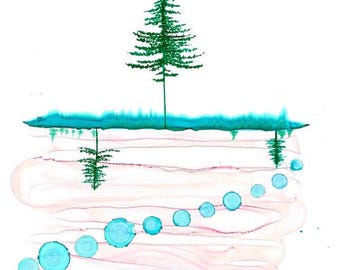 Tree series - original alcohol ink painting