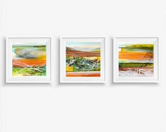 Triptych Art Prints, Expressionist Wall Art, Abstract Printable Art, Square Prints, Earth Tones, Boho Home Decor, aqua olive brown orange