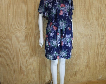 Vintage 1970's Poly Blue Floral Semi Sheer Caped Tiered Mini Dress XL Plus Size 22 24