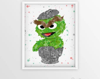 Oscar the Grouch watercolor, Muppets Poster, Grouch Print, Mupplet Print, Oscar Wall Hanging, Watercolor Painting Effect, Kids Nursery