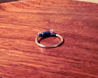Simple blue and silver aluminum ring