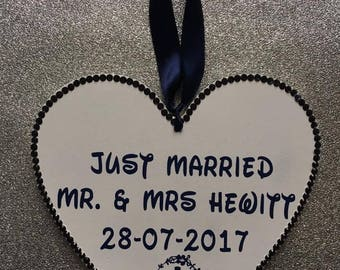 Personalised Wooden Just Married Heart