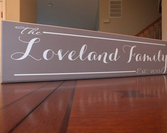 """Personalized Family Name Sign Personalized Family Established Sign Custom 5.5""""x24"""""""