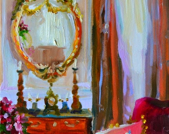 MIROIR D'OR, print of painting by Cecilia Rosslee,French interior,tall windows,gold mirror,antique candelabra,pink and green