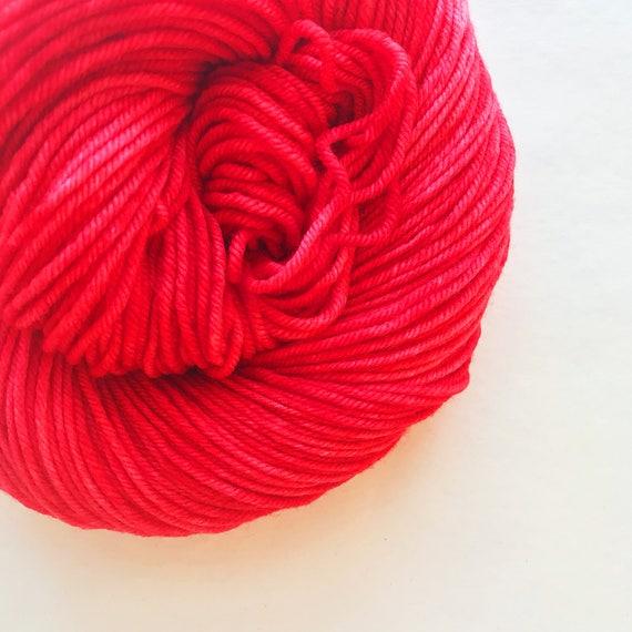 RED RED hand dyed yarn fingering sock dk bulky yarn super wash merino wool yarn - choose your favorite base. bright medium true red yarn