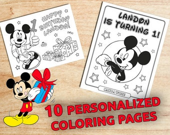Personalized MICKEY Mouse Birthday Coloring Pages / Party favors / Printable / Digital / PDF