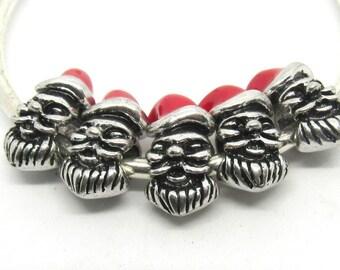 5 Antique Silver/ Red Enamel Euro Santa Face Charm Beads  (B502e)