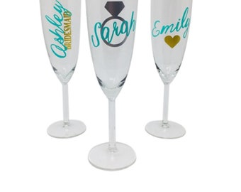 Personalized Champagne Flutes, Bridesmaids Champagne, Bridal Party Champagne, Bridal Party Gift, Bridal Party Glass, Bridesmaid Glass