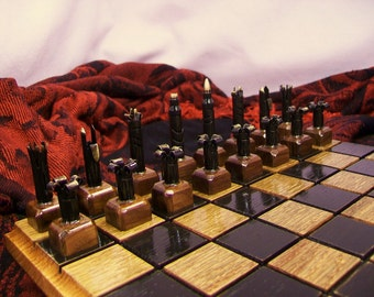 223 Bullet shell chess pieces with wood base. Red Oak Board optional- Free Shipping to U.S.