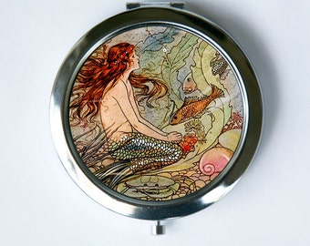 Mermaid Compact Mirror Pocket Mirror fish underwater fairytale victorian