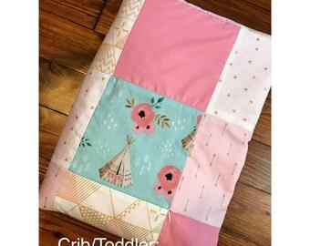 Crib/Toddler pink blue gold quilt