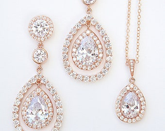 Bridal Earrings Rose Gold Cubic Zirconia Solitaire Pear Drop Earrings  Necklace Uber Glam Chic Cocktail Jewelry Best Bridal Jewelry Set