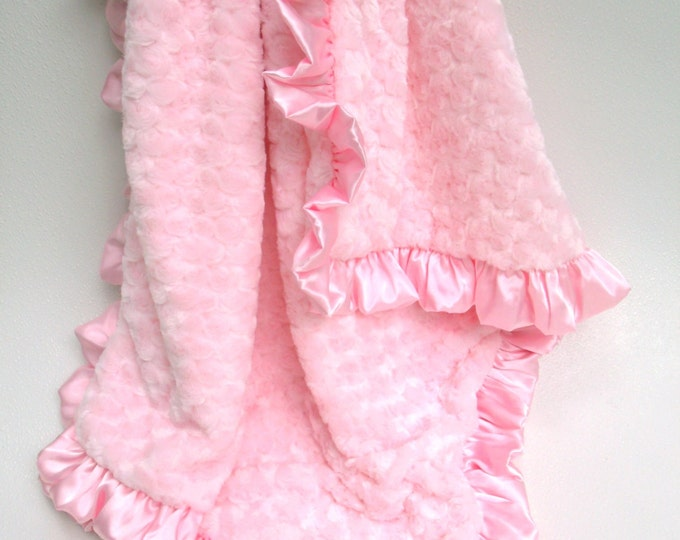 Pink Rose Swirl Minky Blanket, for Baby, Teen, or Adult