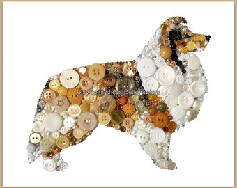 Sheltie Decorations Gifts for Sheltie Owners Button Art Shetland Sheepdog Button Art Dog Swarovski Rhinestones Pet Portraits Art Button Dog