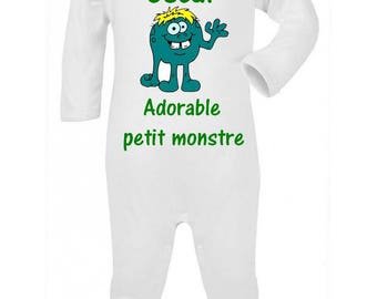 Adorable little monster personalized with name baby pajamas