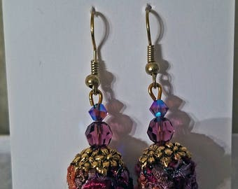 Exquisite handknit fiber and Swarovski crystal dangle earrings