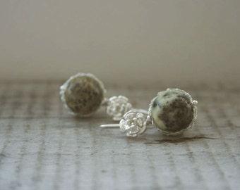 Baltic Amber Earrings. Silver Wire Crochet Earrings. Natural Round Unpolished Baltic Amber Earrings. Wire Crochet Jewellery.