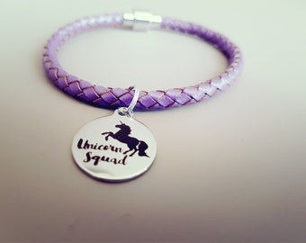Lilac Braided Leather Bracelet With Unicorn Charm and Magnet Clasp - Lilac Leather Bracelet -  Purple Bracelet with Charm for Teenagers