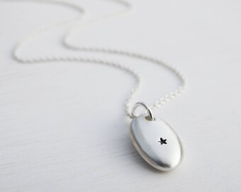 Silver Pebble & Star Necklace, Sterling Silver