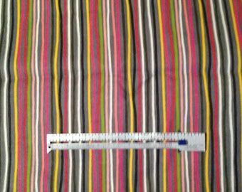 "Fabric 3 yards and 6"" Gray Black White Orange Red Green Pink Wavy Stripes Unwashed Flannel"