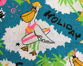 Vintage 80's colourful Pelican neon Holiday print knit fabric