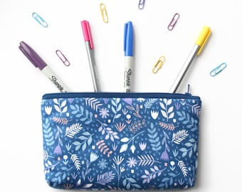 Blue and Purple Pencil case, Planner Pouch, Padded Floral Pencil Bag, Zipper Pouch, Gift for Her, Planner Accessory, School Supplies