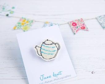 Teapot Brooch, Teapot pin, Tea pot Badge