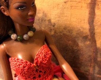 Barbie Doll Fashion Jewelry Green Jade Beads Necklace & Bracelet Set Handmade