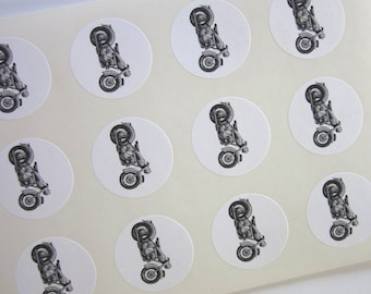Motorcycle Stickers One Inch Round Seals