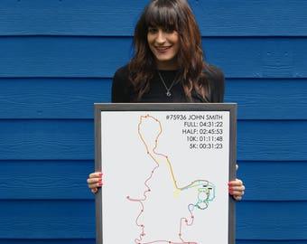 Dopey Challenge Marathon Route Print // Minimal Marathon Map Gift // Dopey Challenge Personalized Poster // Dopey Challenge Runner Gift