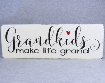Grandkids Make Life Grand Wood Sign, Grandma Gift Rustic Wood Sign, Grandparents Gift Grandchildren Photo, Pregnancy Reveal Gift for Grandma