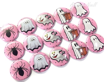 "Pink Halloween Ghost, 1"" Button, Halloween Pin, Halloween Button, Halloween Pinback, Ghost Flatback, Spider Pin, Ghost, Ghost Pin, Spider"