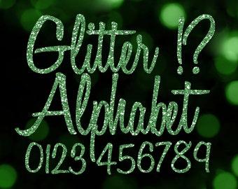 Green Glitter Alphabet Clipart: Digital Glitter Alphabet Clip Art, Green Glitter Letter, Large Glitter Letter, Green Digital Alphabet Letter
