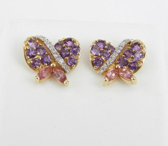 14K Yellow Gold Diamond Amethyst Pink Tourmaline Bow Tie Stud Earrings Purple February Gem