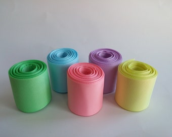 """1.5"""" (38mm) Pastel Grosgrain Ribbon 5 Yards (You choose the color:  Mint, Light Blue, Pink, Orchid, or Baby Maize)"""