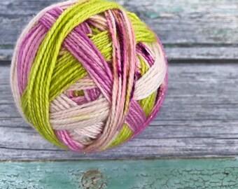 Apple blossom self striping yarn