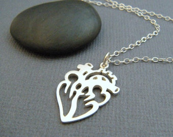silver anatomic heart necklace. sterling heart anatomical charm. simple cut out pendant. gift medical doctor nurse. RN. MD. science jewelry