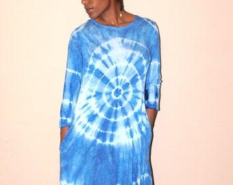 Hand Dyed Shibori Indigo 3/4 sleeve High/Low Sundress