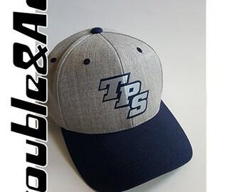 TPS Baseball Cap Custom Colors Grey Navy Blue Silver T-Prep Spirit Wear Temecula Preparatory School Flat Bill Snapback Hat