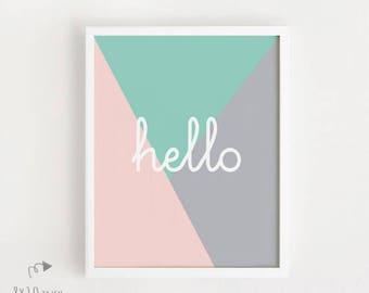 INSTANT DOWNLOAD Hello print sign Cute graphic printable art Poster DIY Pastel Hello sign Kawaii wall decor nursery art 8x10inch, 40x50cm