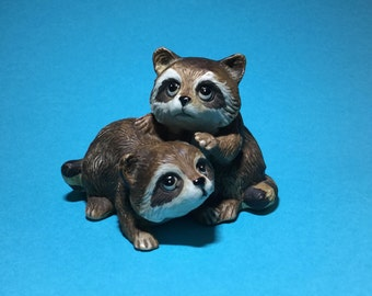 HOMCO vintage raccoon porcelain raccoon figurine