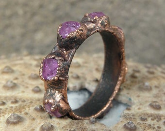 Rough sapphire ring | Pink sapphire copper ring | Raw sapphire electroformed ring