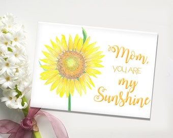 Mother's Day Card, Mother's Birthday Card, Card for Mom, Card for Stepmom, Just Because Card, Hand drawn Card, Sunflower Greeting Card