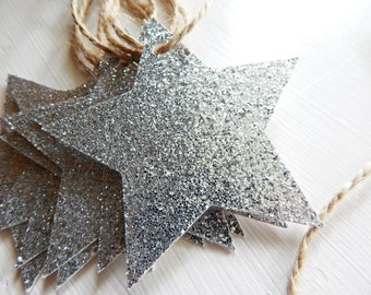 Silver Glitter Star Gift Tags - Christmas Tags - Holiday Tags - Paper Ornaments