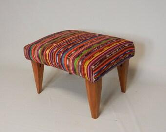 Colorful Stripe Textile Footstool